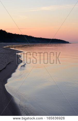 Ladoga lake at sunsset the Karelian Isthmus.