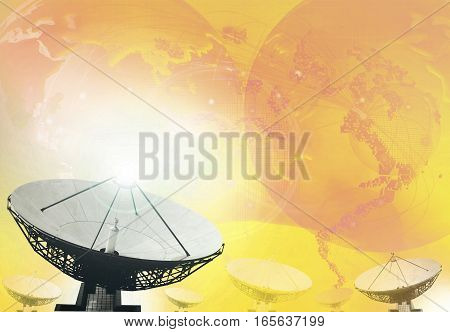 satellite dish and broadcasting background for telecommunication theme