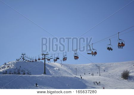 winter entertainment, cableway in the mountains, winter sports