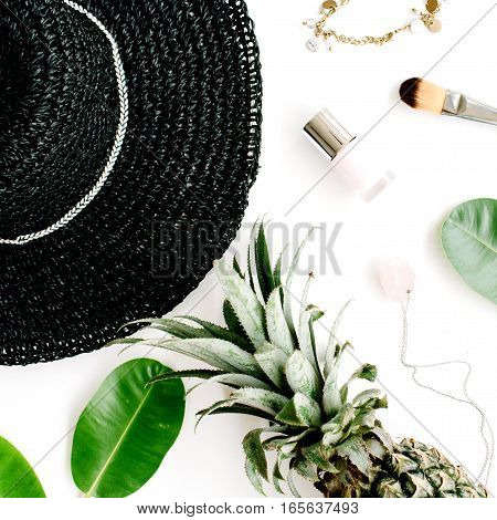 Summer casual style. Modern woman clothes and accessories collage. Hat lipstick and pineapples. Flat lay top view