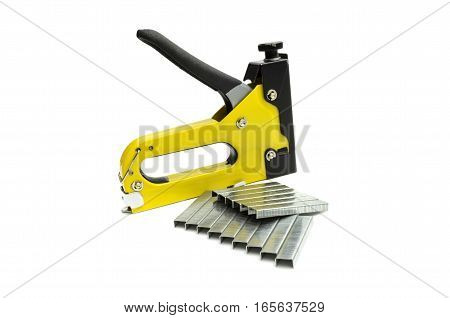 industrial stapler for driving staples on a white background