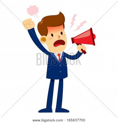Vector stock of an angry businessman talking and yelling through a loud speaker