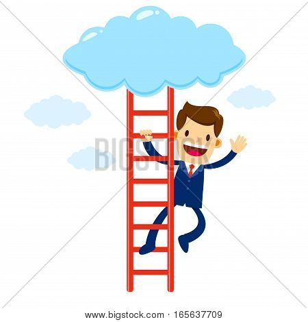 Vector stock of a businessman waving while climbing on a ladder to the clouds