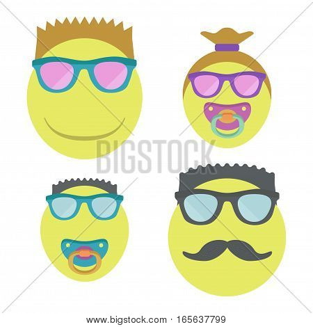 Homosexual family emoji with two children. Vector illustration.