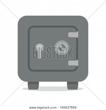 Closed Metal Safe Isolated on White Background. Vector illustration.