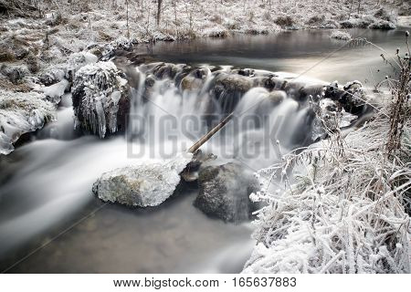 Frozen river in forest - long exposure with ND filter. Cutkovska valley, Slovakia