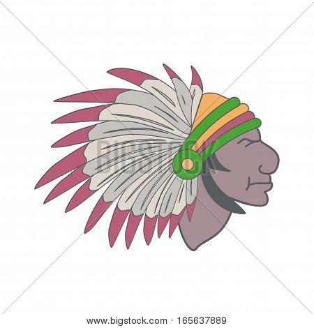 American Indian in a headdress of feathers. Vector illustration.