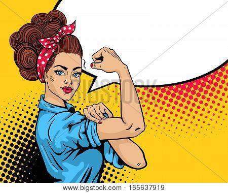 We Can Do It poster. Pop art sexy strong girl. Classical american symbol of female power woman rights protest feminism. Vector colorful hand drawn background in retro comic style.