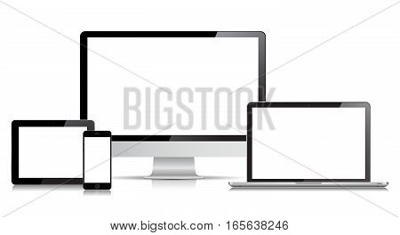 This image is a vector file representing a Laptop Smartphone Tablet and Desktop Computer.