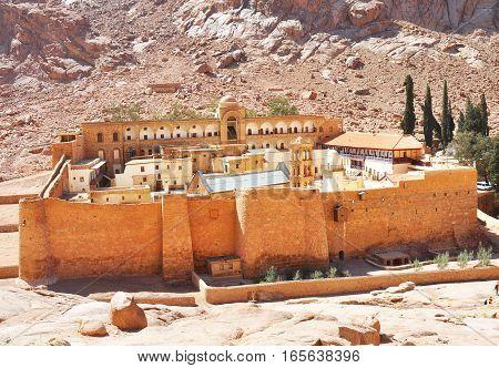 Close up on Saint Catherine's Monastery in Sinai Peninsula Egypt.
