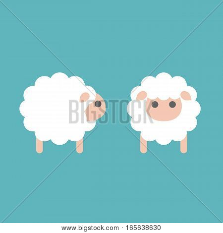 set of sheep icon in side and front, flat design vector