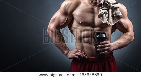 Bodybuilder With A Shaker