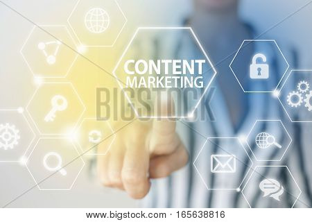 Content marketing business concept with business person
