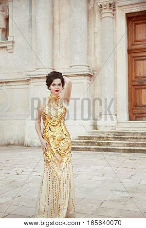 Fashion Outdoor Photo Of Fashionable Sexy Elegant Lady Wearing In Luxury Golden Dress. Beautiful You