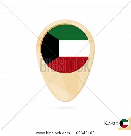 Map Pointer With Flag Of Kuwait. Orange Abstract Map Icon.