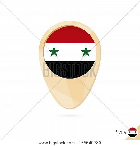 Map Pointer With Flag Of Syria. Orange Abstract Map Icon.