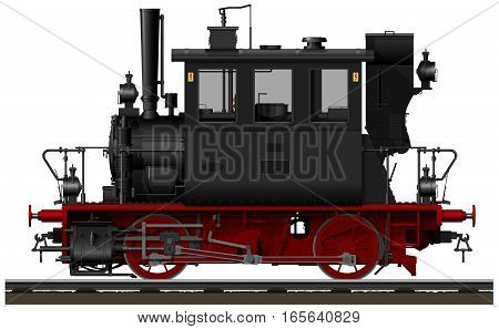 The old black and red Bavarian steam locomotive