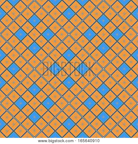 seamless geometric pattern, orange and blue diamond with a star, vector illustration