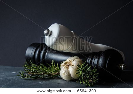 Modern salt and classic wooden pepper grinders with garlic cloves and rosemary branches on grey stone surface and black background. Concept or metaphor for healthy lifestyle and cooking.