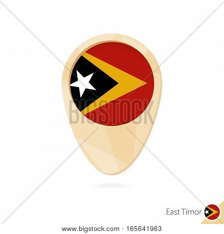 Map Pointer With Flag Of East Timor. Orange Abstract Map Icon.