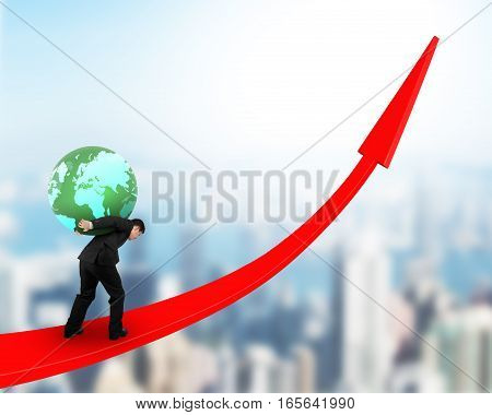 Man Carrying Globe Upward On Red Trend Line