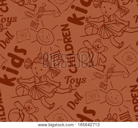 seamless background of dolls, children's toys, toy bear, sun