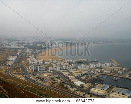 Panorama aerial view to Agadir city Morocco