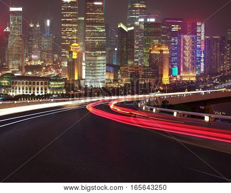 Empty Road Floor With Bird-eye View At Shanghai Bund Skyline