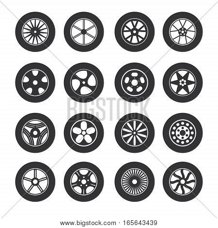 Black Tire Wheels Icon Set Design for Auto Service or Shop Web and App. Vector illustration