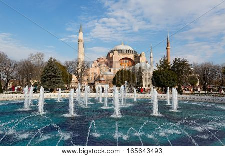 Hagia Sophia (Ayasofya) museum and fountain view from the Sultan Ahmet Park in Istanbul Turkey