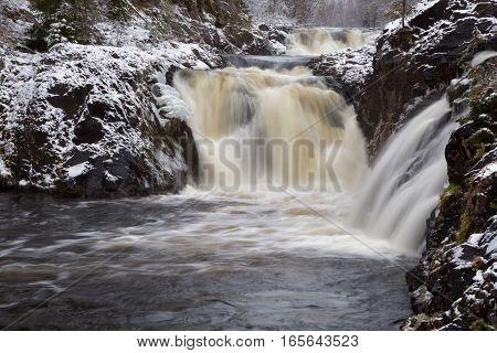 Kivach waterfall in the winter Karelia Russia