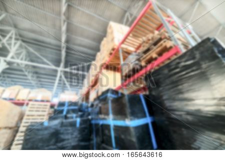 Long Shelves With A Variety Of Boxes And Containers.