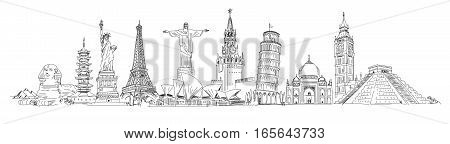 Attractions of the world. Freehand drawing. Panorama. Vector illustration. Isolated on white background