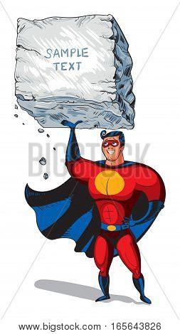 Super man raises a big boulder with text