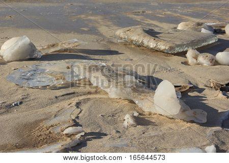 Frozen ice on a Lake Michigan, Beach