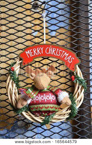 Close up of decoration of deer hanging for Christmas celebration