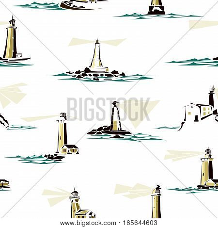 Seamless background of stylized lighthouses with rays of light and waves.