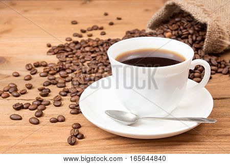 Cup Of Coffee, Roasted Coffee Beans In Sack