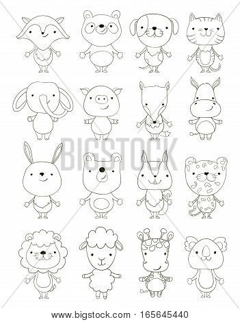 set of cute cartoon animals outlines. vector
