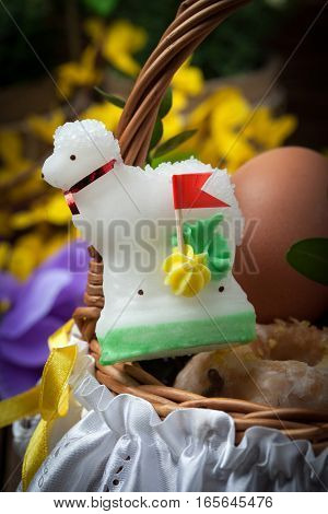 Traditional Easter Basket With Food.