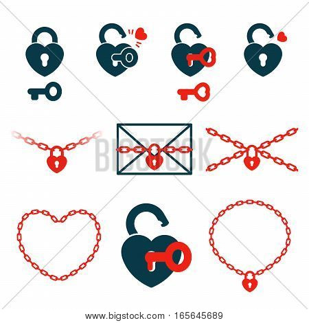 Set of icons about strength in relationships of love heart-shaped locks keys and chains in red and dark blue colors vector illustration