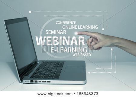 Webinar web conferencing online seminar concept with laptop