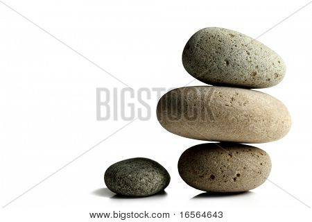 Balanced zen stones isolate on white