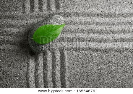 zen stone with leaf