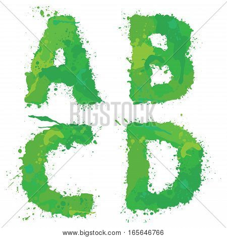 A B C D Handdrawn english alphabet - letters are made of green watercolor ink splatter paint splash font. Isolated on white background.