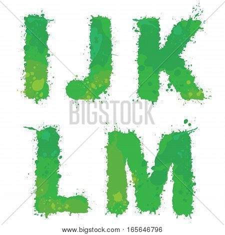 I J K L M Handdrawn english alphabet - letters are made of green watercolor ink splatter paint splash font. Isolated on white background.