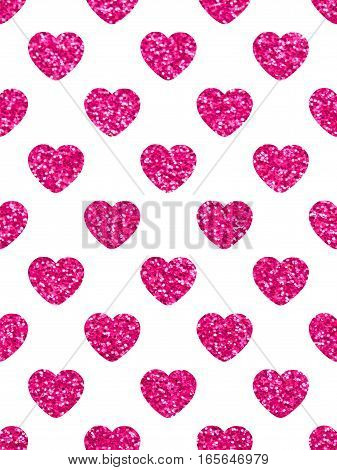 The red hearts. Glittery texture. The theme of love and Valentines Day. Beautiful festive shiny pattern. Rectangular vertical orientation