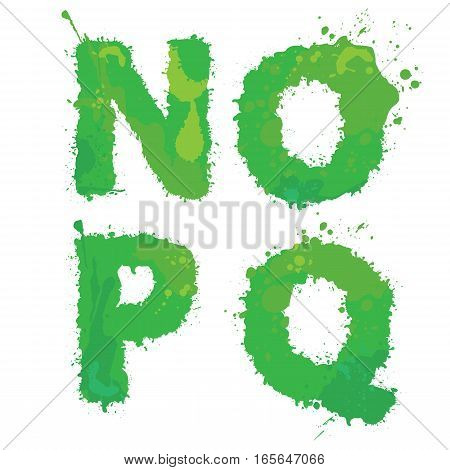 N O PQ Handdrawn english alphabet - letters are made of green watercolor ink splatter paint splash font. Isolated on white background.