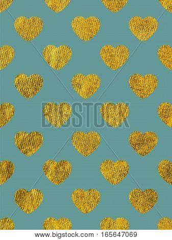 Golden hearts on a pink background. The theme of love and Valentines Day. Beautiful festive shiny pattern. Rectangular vertical orientation