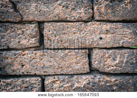 Background of old vintage brick wall texture with copy space